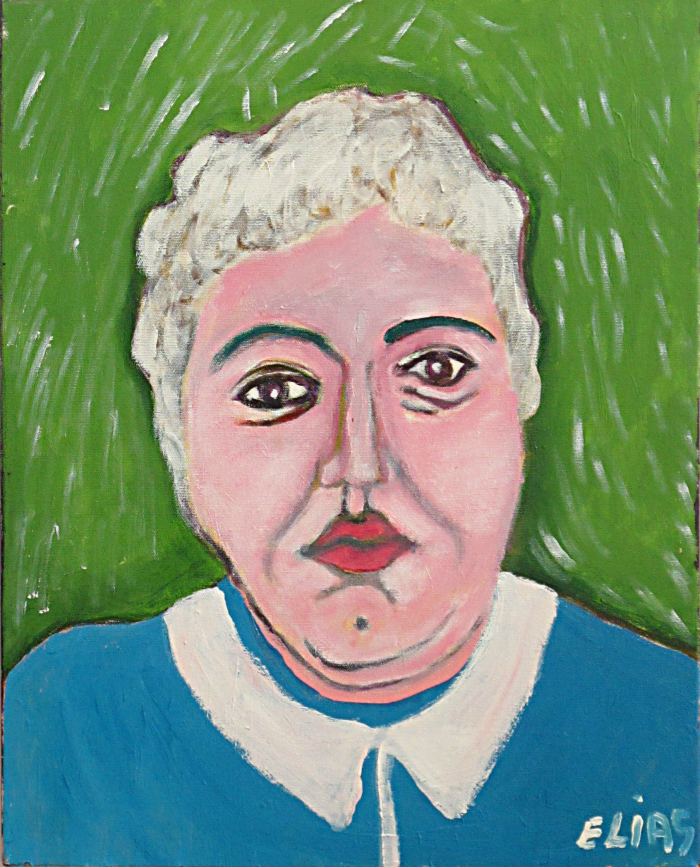 painting of white-haired woman against a green background