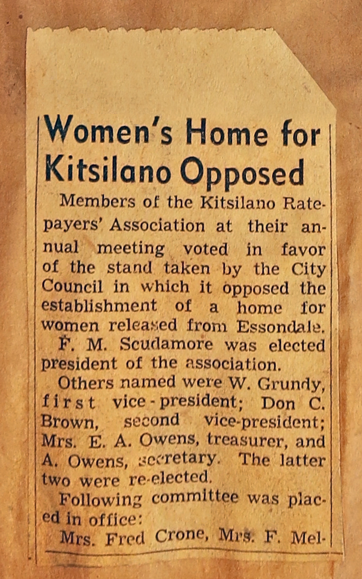 new clipping - Women's Home for Kitsilano Opposed