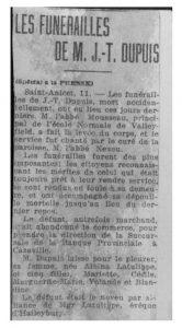 article de journal d'un vingtaine de ligne sur les funérailles de M. Dupuis