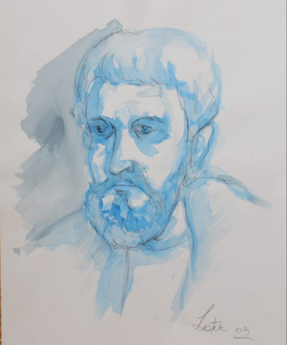 blue painted sketch of man with beard