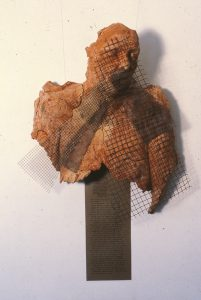 sculpture of a womans torso with wire mesh overlaid