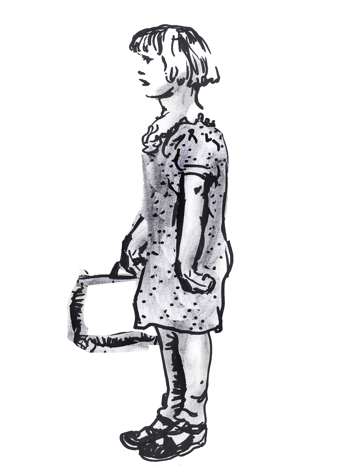 old fashioned girl holding suitcase