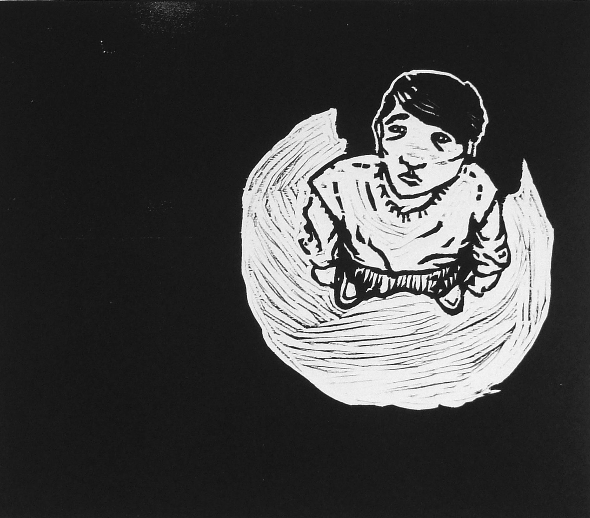 print with black background and small figure on right looking up