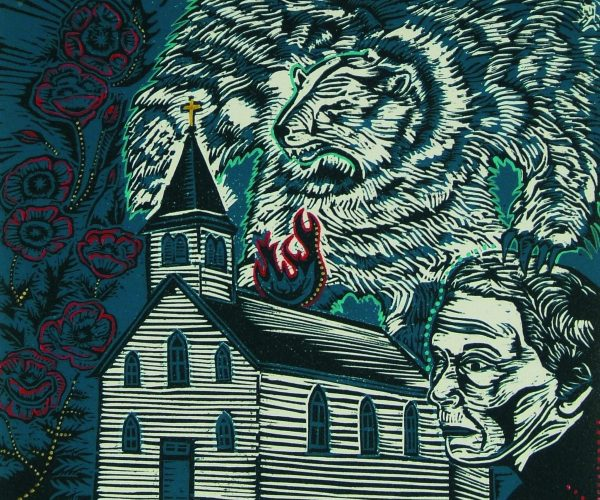 print with white church on fire, bear in sky, persons face