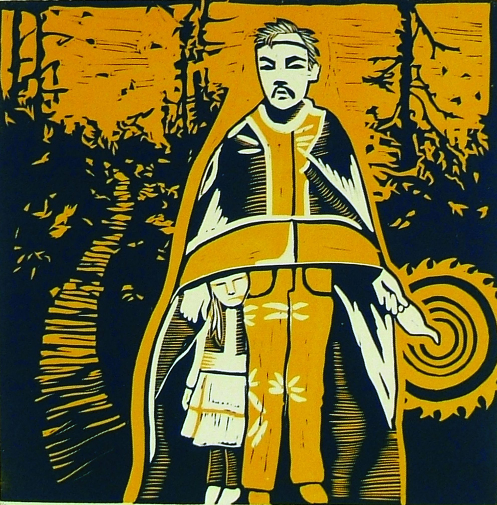 man in ceremonial clothing with child sheltered under robes, path leading to woods behind