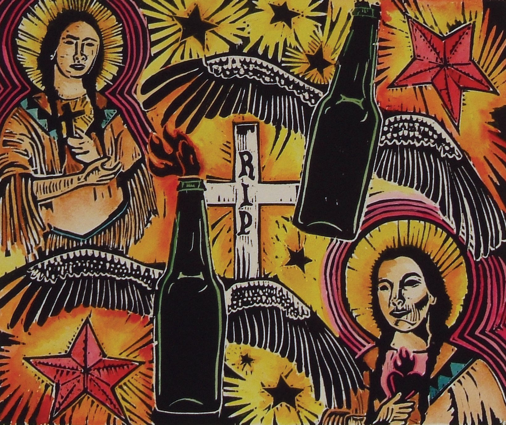 red stars, crosses, bottles, wings, faces in print collage