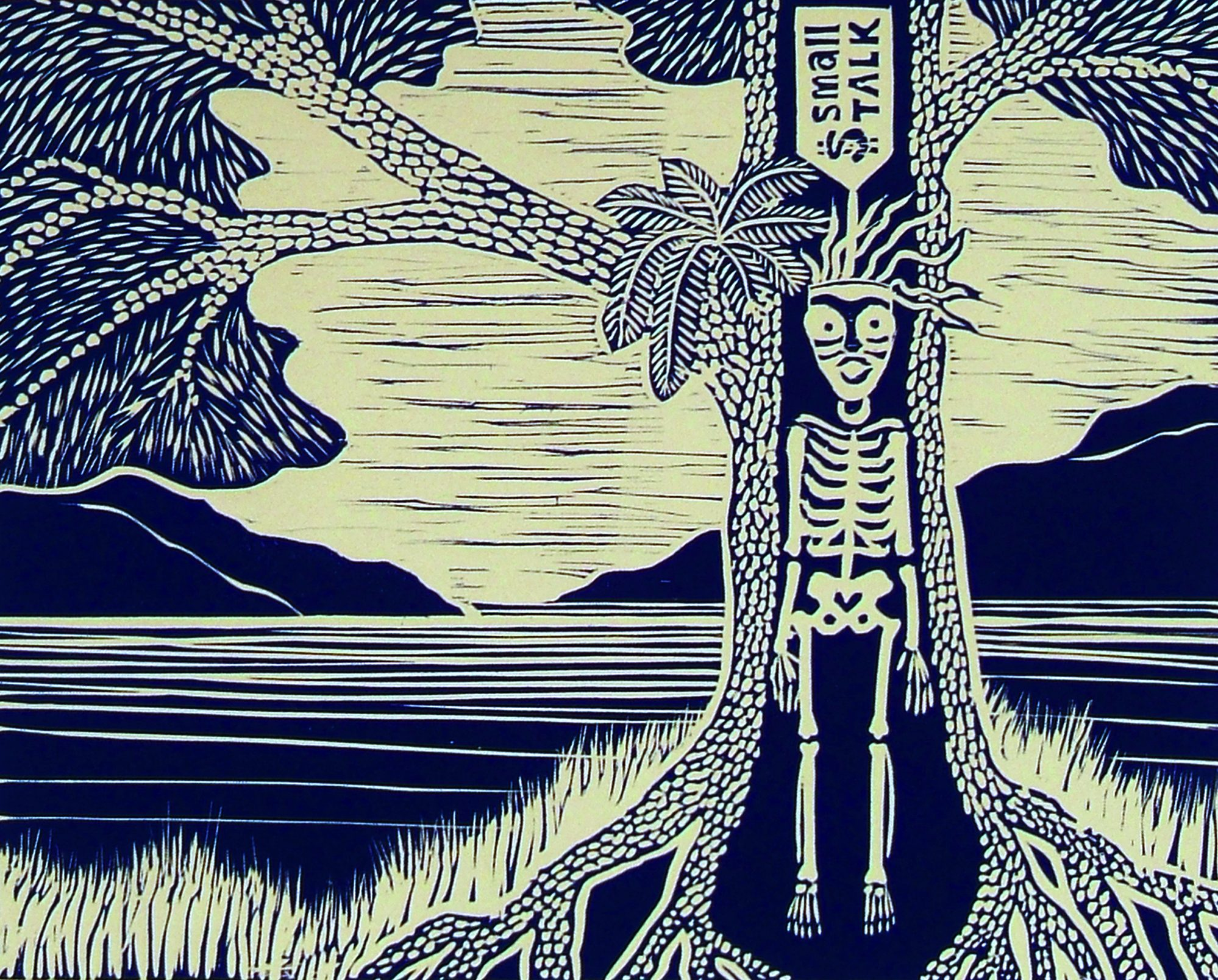 blue and white print with skeleton in tree and ocean and mountains behind
