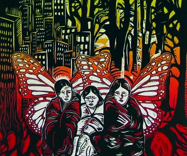 coloured print with city on one side and woods on the other and 3 butterfly women in the forefront